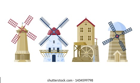 Farm mill set. Vector agriculture buildings. Flat  architecture collection.