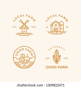Farm monoline logo icon set. Windmill, barn, tractor and corn. Vector designs.