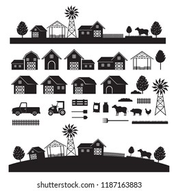 Farm Objects and Landscape, Silhouette Set, Farming, Agriculture, Cultivate and Farmland