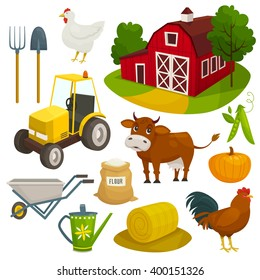 Farm objects set isolated on white, cartoon vector illustration, farming tools animals building and tractor