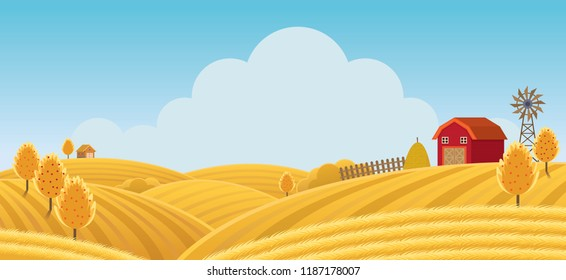 Farm on Hill with Yellow or Gold Field Background, Agriculture, Cultivate, Countryside, Field, Rural