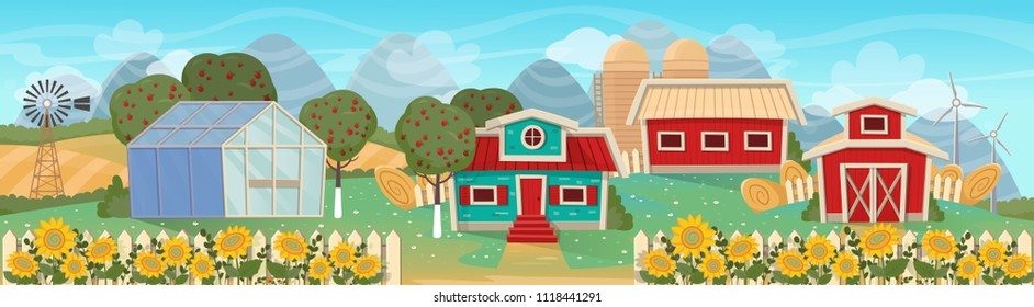 Farm panorama with a greenhouse,  barn, houses, mills, fields and trees. Vector illustration in flat cartoon style.