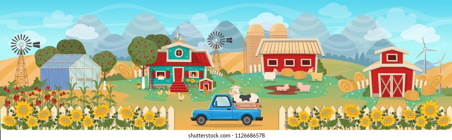 Farm panorama with a greenhouse,  barn, houses, mills, fields, trees and farm animals. Vector illustration in flat cartoon style. Seamless background on layers.
