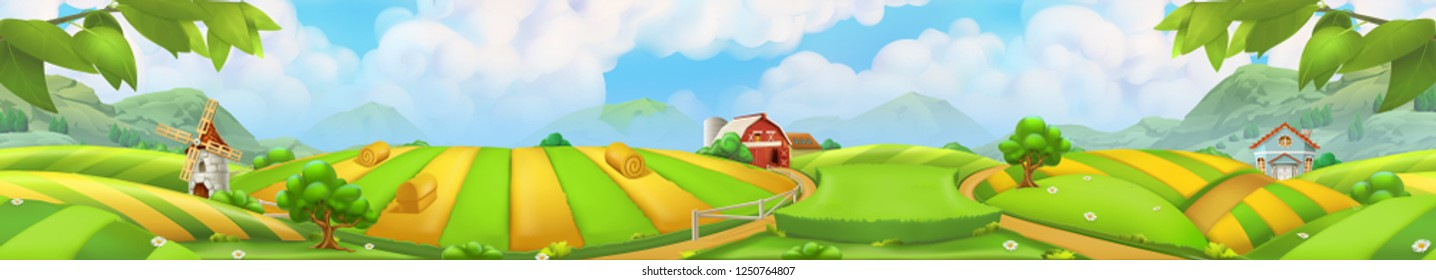 Farm, panorama landscape vector background