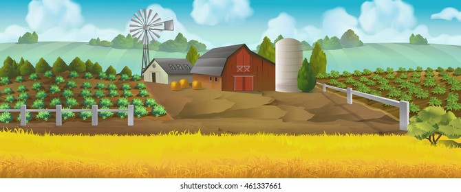Farm panorama. Vector background