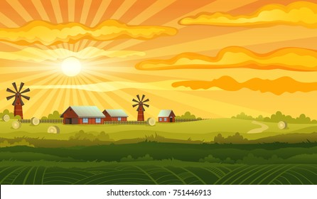 Farm panorama vector background, vector mill, house and red barn in the field with haystacks.