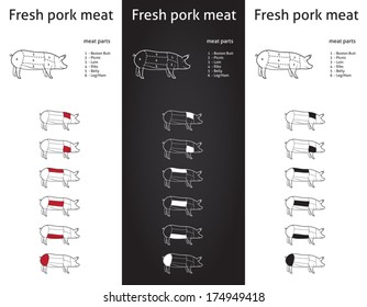 Farm Pork meat parts Icons for packaging and info-graphic 1