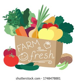 Farm produce in a bag. Vector illustration, isolated on a white background.