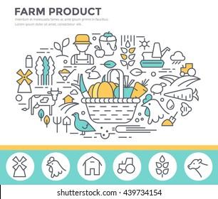 Farm product illustration, organic food concept  vector template, thin line, flat design