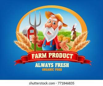 farm product logo with old farmer
