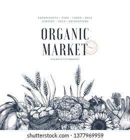 Farm products design template. Handsketched vintage vegetables. Line art illustration. Vector illustration