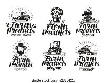 Farm products, label set. Farming, agriculture logo or icon. Lettering vector illustration