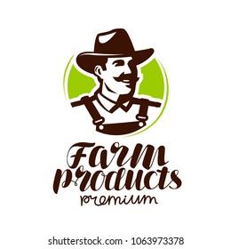 Farm products logo or label. Farmer icon, vector illustration