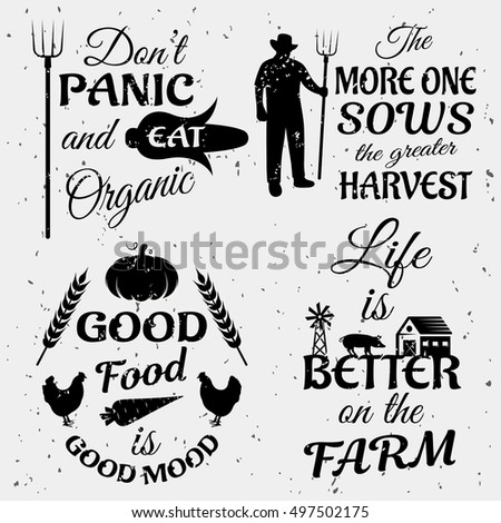 Farm Quotes Monochrome Set Typographic Sayings Stock Vector Royalty Delectable Farm Quotes