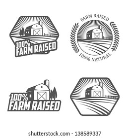 Farm raised labels and badges