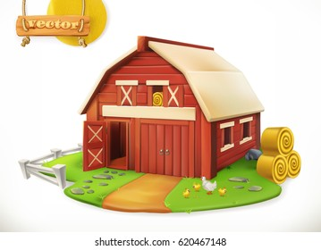 Farm. Red garden shed, 3d vector icon