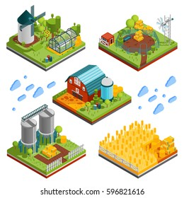 Farm rural buildings isometric compositions set with square segments of ranch reservation with plantations mills reservoirs vector illustration