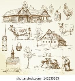 farm, rural houses - drawing