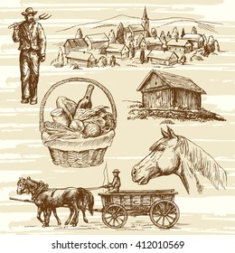 Farm, rural landscape, agriculture - hand drawn collection