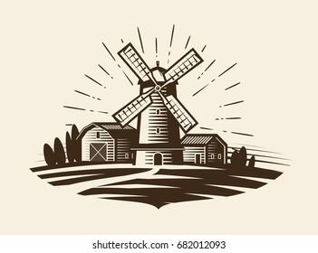 Farm, rural landscape logo or label. Agriculture, agribusiness, village, mill icon. Vintage vector illustration