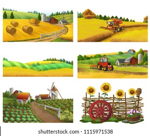 Farm, rural landscape, vector set