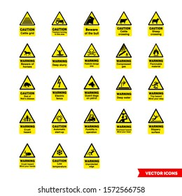 Farm safety hazard signs icon set of color types. Isolated vector sign symbols. Icon pack.