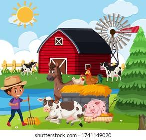 Farm scene with boy and many animals on the farm illustration