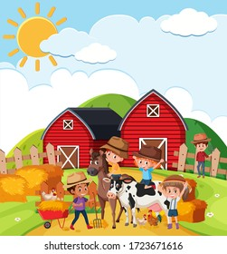 Farm scene with many kids and animals on the farm illustration