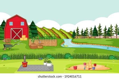 Farm scene with red barn in field landscape illustration