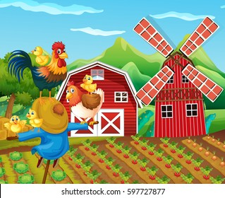 Farm scene with scarecrow and chickens illustration
