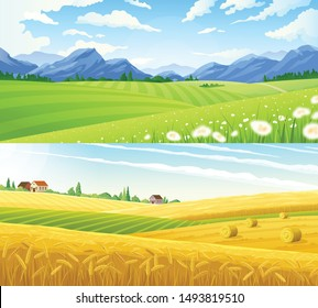 Farm scene summer rural landscape set of two horizontal banners with panoramic scenery of wheat lands vector illustration