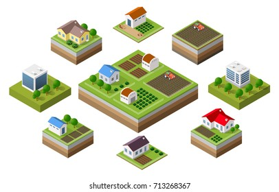 Farm set of houses in isometric style