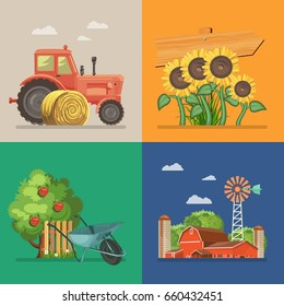 Farm set with tractor, sunflowers, apple tree. Agriculture vector illustration. Colorful countryside.