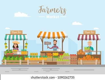 Farm shop. Local market. Selling fruit and vegetables. business owner working in his own store. flat vector illustration. Fresh food