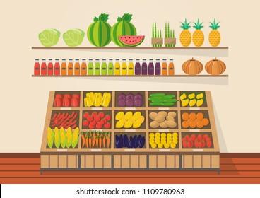 Farm shop. Local market. Selling fruit and vegetables. store on flat design vector illustration. Fresh food