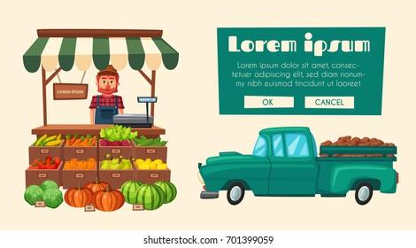 Farm shop. Local stall market. Selling vegetables. Cartoon vector illustration.