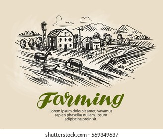 Farm sketch. Agriculture, farming vector illustration