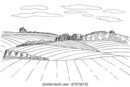 Farm sketch. Hand drawn landscape with plant. Vector illustration