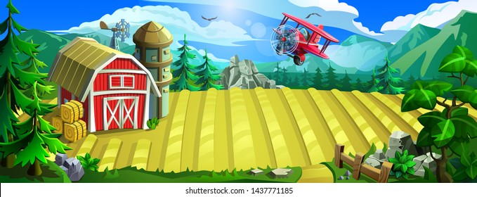 Farm with a sown field, a red barn and aircraft. Vector landscape with a farm, a forest and mountains.