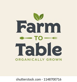 Farm To Table Organically Grown Vector Text Typography Illustration Background for Posters, Flyers, Marketing, Ads, Social Media, Branding, Business, Company, Farmer's Market
