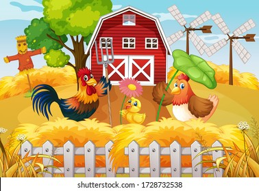 Farm theme background with farm animals  illustration