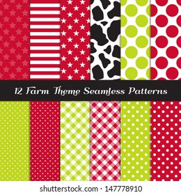 Farm Theme Seamless Pattern Pack - Cow Skin Print, Apple Green and Red Gingham, Polka Dots, Stripes and Stars. Pattern Swatches made with Global Colors.