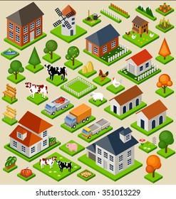 Farm toy blocks isometric set. Isolated. Map Elements. Vector illustration