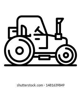 Farm tractor icon. Outline farm tractor vector icon for web design isolated on white background
