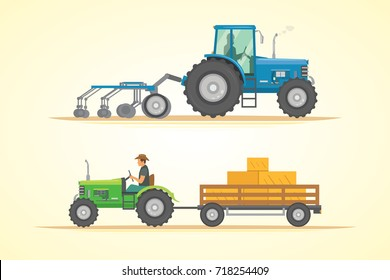 Farm tractor icon vector illustration. Heavy agricultural machinery for field work.