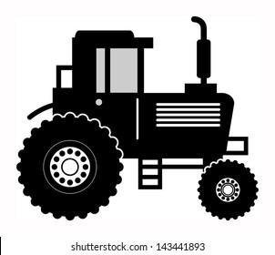 Farm tractor symbol, vector illustration