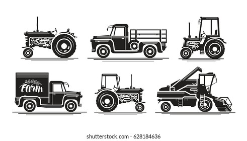 Farm transport, set icons. Agricultural tractor, truck, lorry, harvester, combine, pickup, car symbol. Silhouette vector illustration