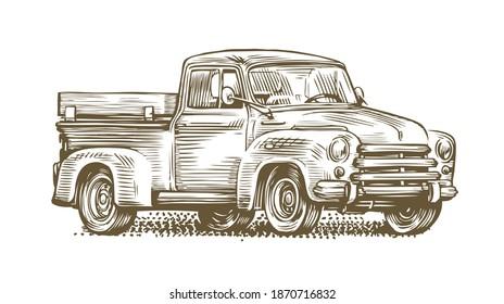 Farm truck sketch. Farming, retro car vintage vector illustration