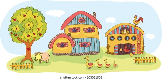 farm with a two-story house, barn, trees and animals