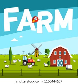 Farm Vector Illustration with Barn and Tractor